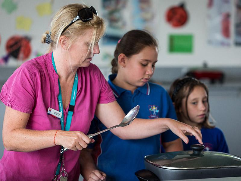 Teacher and Students participating in the Stephanie Alexander Kitchen Garden program at Beckenham Primary School
