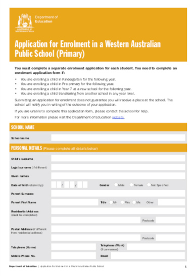 Beckenham Primary School - Application for Enrolment